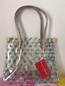 Dooney & Bourke Clear Medium Tote Shopper Bag Purse IT Leather Trim DB Logo-NWT