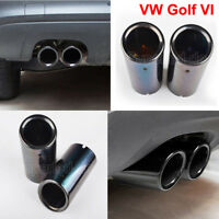 2x 68mm NEW Black Stainless Exhaust Muffler Tip Pipe VW Golf MK VI VII Scirocco