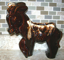 Large Vintage Brown Drip Glaze Pottery Donkey Planter Made Usa Mint Condition!