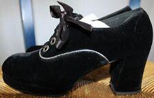 70's Connie black velvet & silver heels oxfords womens vintage shoes sz 6
