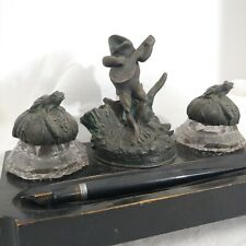 New ListingAntique Figural Fountain Pen Holder Double Ink Well Stand Singing Frog Guitar