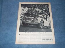 "1962 Triumph TR-4 Vintage Ad ""How Little Does it Cost to Run a Big Sports Car?"""