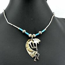 Kokopelli Native American Bear Sterling & Gold Filled Turquoise Pendant Necklace