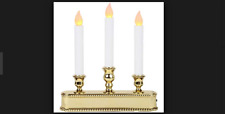 Battery Operated Cordless Candle Candolier Light Sensor Timer Gold LED 10""