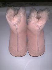 UGGS Girls Pink Boots Medium Baby Leather Sheepskin Fur