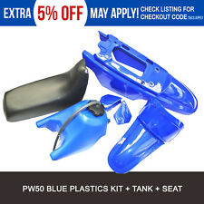 YAMAHA  PW50 PLASTICS FENDERS  BLUE + SEAT + FUEL TANK KIT FOR  PEEWEE  PW 50