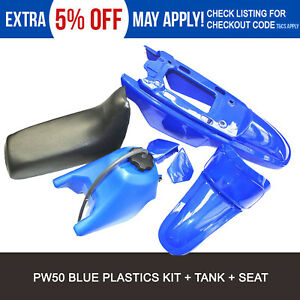 PW50  BLUE PLASTIC/FENDER COVER Tank seat KIT FOR YAMAHA PEEWEE 50 PW 50 PY50