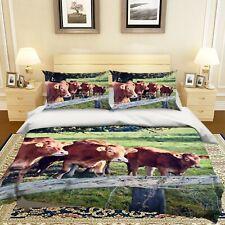3D Breeding Cattle R646 Animal Bed Pillowcases Quilt Duvet Cover Queen Kay