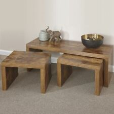 Distressed Hardwood Effect Walnut Sturdy Nest of Tables Set 1 Long 2 Small Table