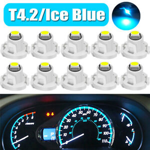 10x Ice Blue T4.2 Wedge 1SMD LED Car Cluster Instrument Dash Climate Light Bulbs