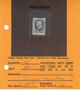 1879 Mint NG Dark Ultramarine Ben Franklin #182 SCV=$95