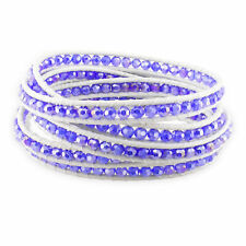 Amour Sterling Silver Crystal White Leather Cord Bracelet