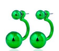 LARGE GREEN DOUBLE BALL STUD EARRINGS. 15MM