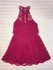 #100 New! Free People Hot Pink Fuchsia Lace Halter Strappy Back Dress Sz 6 NWOT