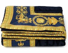Gianni Versace Large Luxury Cotton Towel Throw Unisex Beach Towel NAVY BLUE