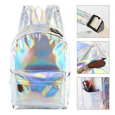 Bolsos PU Unisex Mochila holográfica plata Mochila escolar brillante Hologram