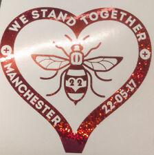 Manchester Bee Heart Decal CAR Van Window Sticker l Love  glitter red