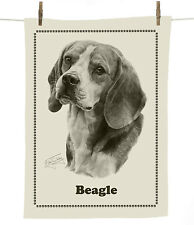 Mike Sibley Beagle dog breed cotton tea towel - dog lover gift