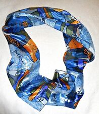 """VINTAGE FAUX SILK NECK SCARF PICASSO AUTO SIGNED+PICASSO IMAGES 12"""" X 60"""" BLUES"""