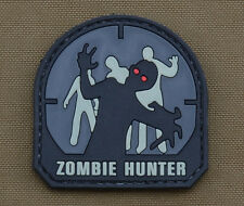 "PVC / Rubber Patch ""Zombie Hunter"" Black with VELCRO® brand hook"