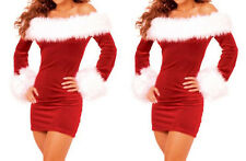 Hot Christmas Womens Santa Costumes Fur XMAS Cosplay Fancy Dress Outfit