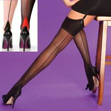 Seamed Tights Stockings Hold Ups Burlesque Fancy Dress Seamer Retro Vintage M&L