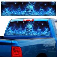 4Sizes Car Rear Window Decal Flaming Skull Windshield Sticker Truck Pickup Glass