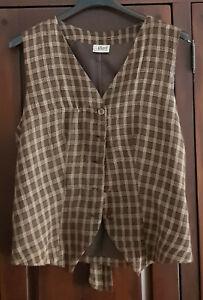 Gilet donna in cotone marrone-scozzese - tg. M - usato