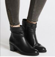 M&S Wide Fit Leather Ruched Block Heel Ankle Boots Black UK 7.5 RRP £59 #6329W