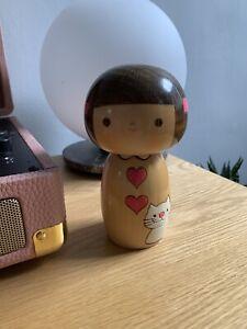 """Artforum Kokeshi Japanese Wooden Doll With Cat """"Futyan"""" Gentle Breeze"""