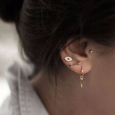 Eye Arrow Stud Earring Set Jewelry 4Pcs/set Women Punk Gold Color Crytal Blue