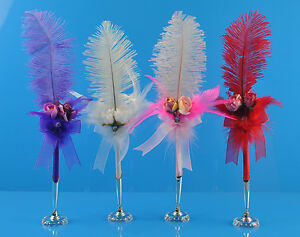 14 Inches Ostrich Feather Plume Rollerball Pen Guest Book Wedding Party Pen