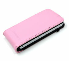 CENITOUCH® Genuine Pink Real Leather Luxury Flip Case Cover for iPhone 4 / 4S