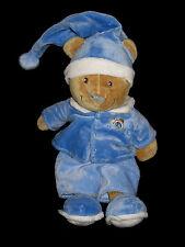 Doudou Ours marron en pyjama bleu écru et bonnet de nuit Nicotoy réveil horloge