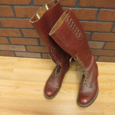 vintage MANS** 70's circa RCMP oxblood brown PEBBLED LEATHER RIDING BOOTS sz 9 D