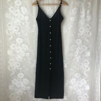 Elia Cher Black Maxi Tank Dress Button Up Semi Sheer Fitted Women's Small S