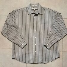 ENRO Men's Non-Iron Long Sleeve Striped Shirt Size L/G 100% Cotton Perfect!!