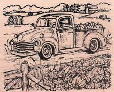 New NORTHWOODS RUBBER STAMP Fall autumn TRUCK pumpkins Free us ship