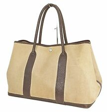 Authentic HERMES Toile H Beige and Brown Garden Party Tote Bag Purse #22022
