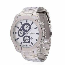 DESIGNER GENOA MIYOTA CHECKERBOARD FACE SILVERTONE STAINLESS STEEL BACK WATCH