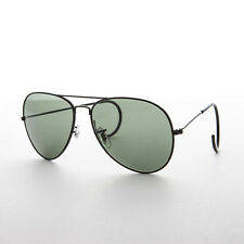 Shooter Aviator Sunglasses with Cable Wrap Temple and Glass Lens Black -Viper