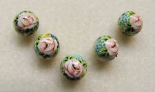 5 Japanese Tensha Beads PINK ROSE WITH FOLIAGE on SILVER MIRACLE ROUND Bead 12mm