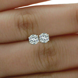 2.00ct Round Cut Moissanite Solid 14k White Gold Finish Screw-back Stud Earrings