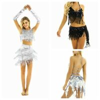 Women Shiny Glitter Ballroom Tassels Belly Dance Dress Latin Salsa Tango Costume