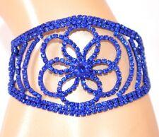 PULSERA mujer azul brazalete rígido strass cristales ceremonia armband E120