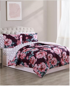 Maroon & Pink Floral Watercolor Flowers Girls CALIFORNIA KING Comforter Set-8 Pc