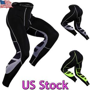 US Mens Compression Tight Base Layer Gym Sports Pants Leggings Workout Trousers