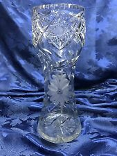 Stunning Czech Bohemian Crystal Cut to Clear Vase with Etched Flowers