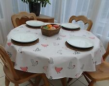 140cm Round Wipe Clean PVC Tablecloth - Chickens