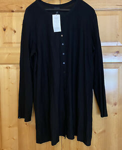 EILEEN FISHER BLACK BUTTON DOWN FRONT LIGHTWEIGHT STRETCH CREPE TUNIC Sz XL NWT